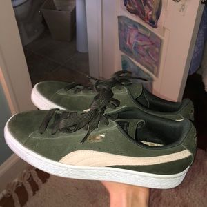 puma olive and baby pink sneakers